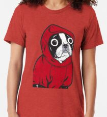 Boston Terrier in einem roten Hoodie Vintage T-Shirt