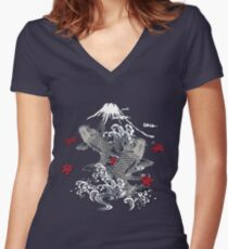 Japanese Koi Graphic Design Women's Fitted V-Neck T-Shirt