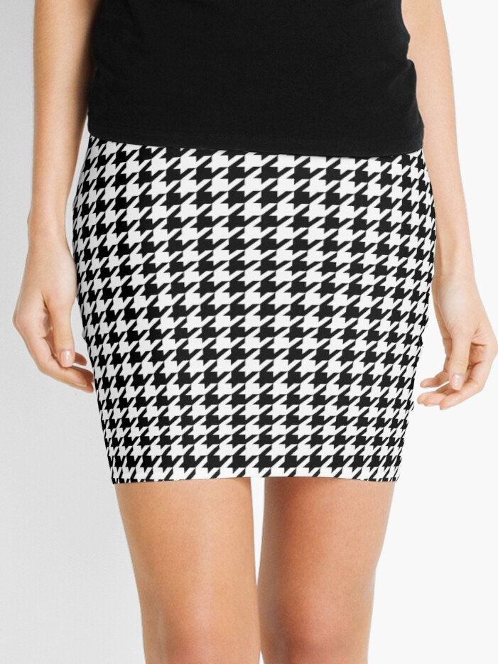 big discount compare price colours and striking Houndstooth Black And White Checkered | Mini Skirt