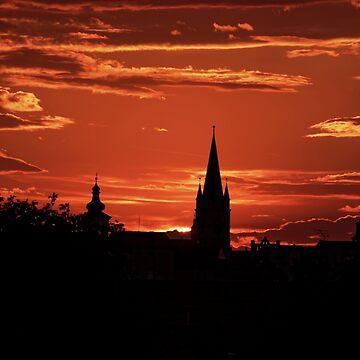 Silhouette old burg Sibiu by AdiBud
