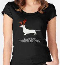 Merry Christmas - Dachshund through the snow Women's Fitted Scoop T-Shirt