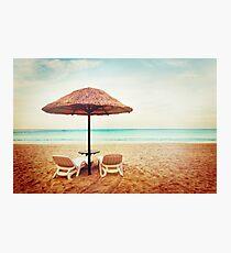 Tropical beach view. Two beach chairs. Photographic Print