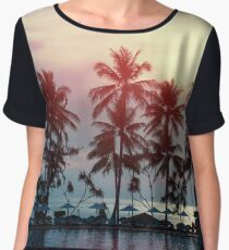 Sunset at a coastline with palm trees Chiffon Top