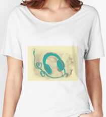 Watercolor of headphones. Music love Women's Relaxed Fit T-Shirt