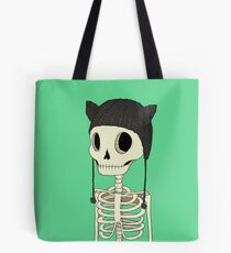 Skeleton Kitty Tote Bag