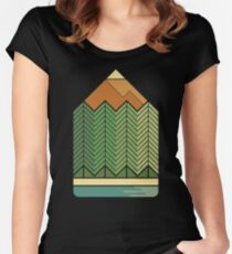 Drawing Mountains Women's Fitted Scoop T-Shirt