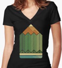 Drawing Mountains Women's Fitted V-Neck T-Shirt
