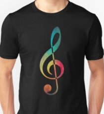 Rainbow pattern note Sol silhouette T-Shirt
