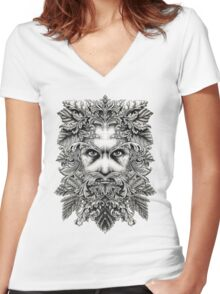 The Green Man B/W Women's Fitted V-Neck T-Shirt