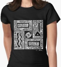 Eye, Square, Triangle (white design) Women's Fitted T-Shirt