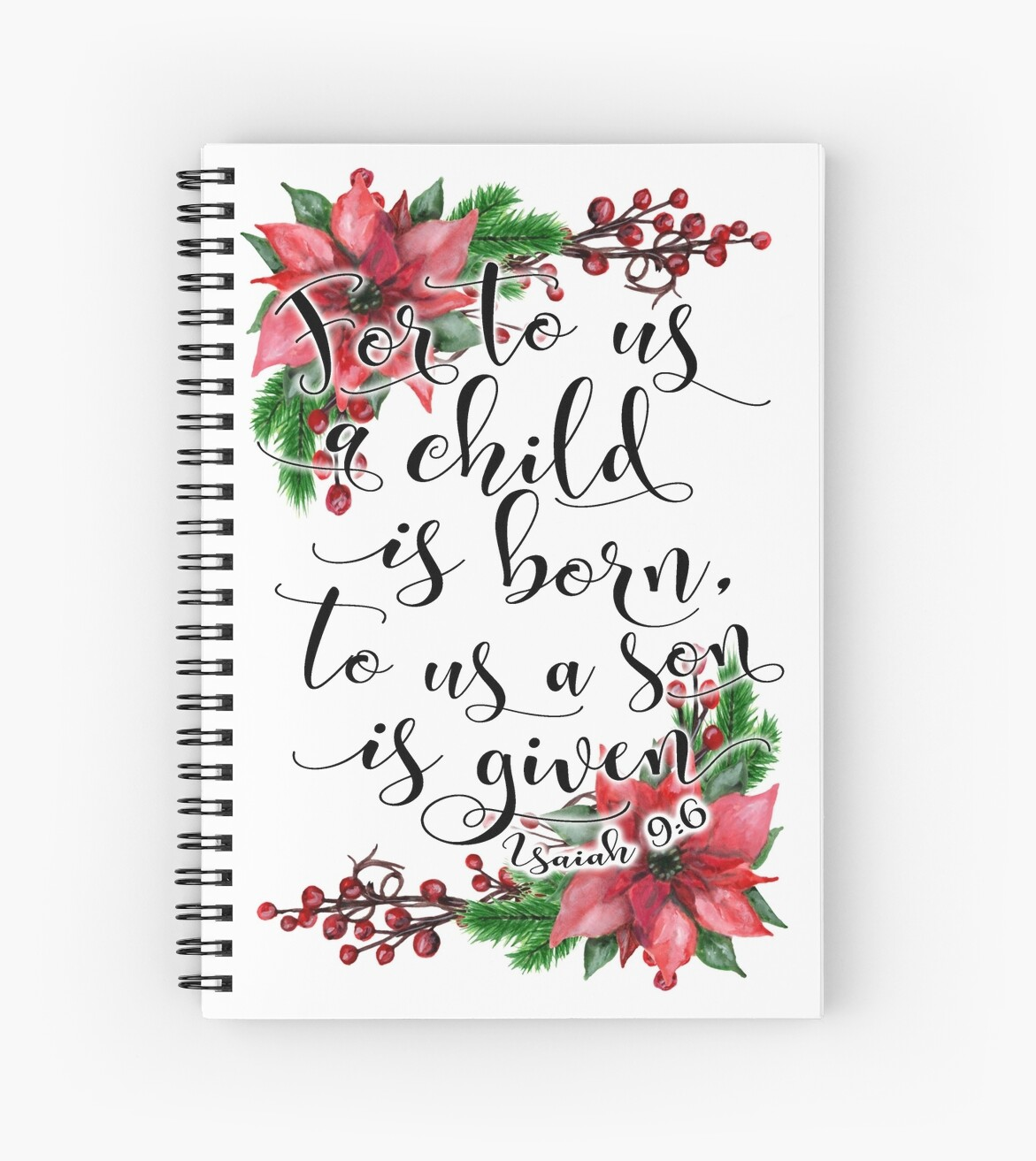 Floral Christmas Bible verse Isaiah 9:6 For to us a child is born ...