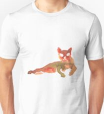 Orange & Brown Laying Down Cat Unisex T-Shirt
