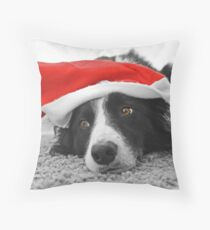 Border Collie Christmas Card - Santa's Little Helper Throw Pillow