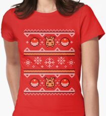 8-bit Christmas Sweater Womens Fitted T-Shirt