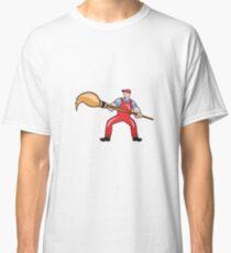 Artist Painter Standing Giant Paintbrush Cartoon Classic T-Shirt