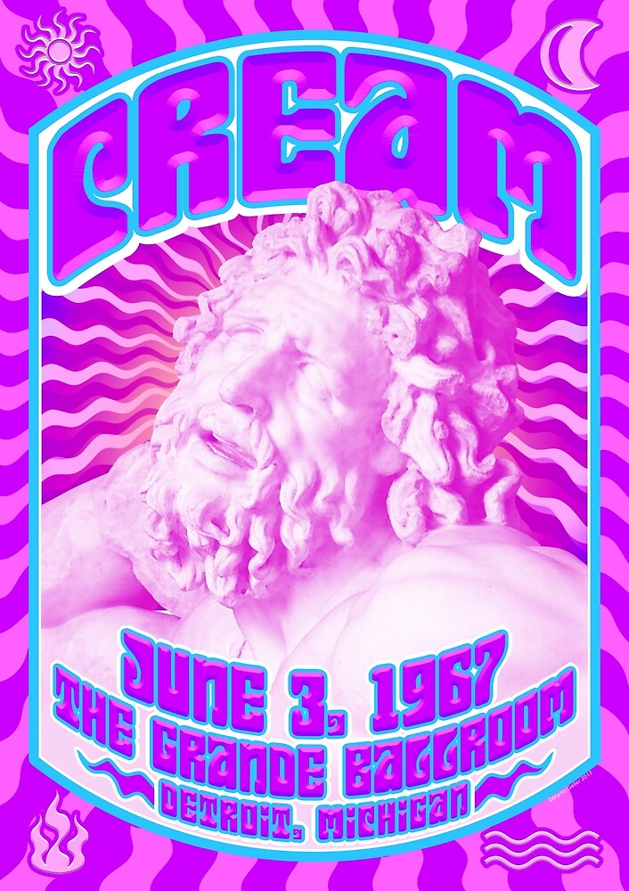 Psychedelic Poster - Cream / The Grande Ballroom, Detroit / June 3, 1967  by BLTV
