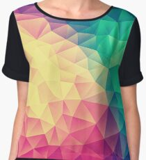 Abstract Polygon Multi Color Cubism Low Poly Triangle Design Women's Chiffon Top