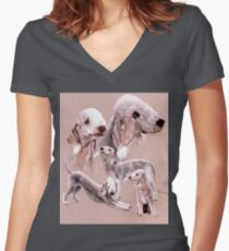 Bedlington Terrier Women's Fitted V-Neck T-Shirt