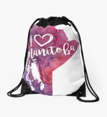 I Heart Manitoba Watercolor Map - With Calligraphic Hand Lettering Drawstring Bag