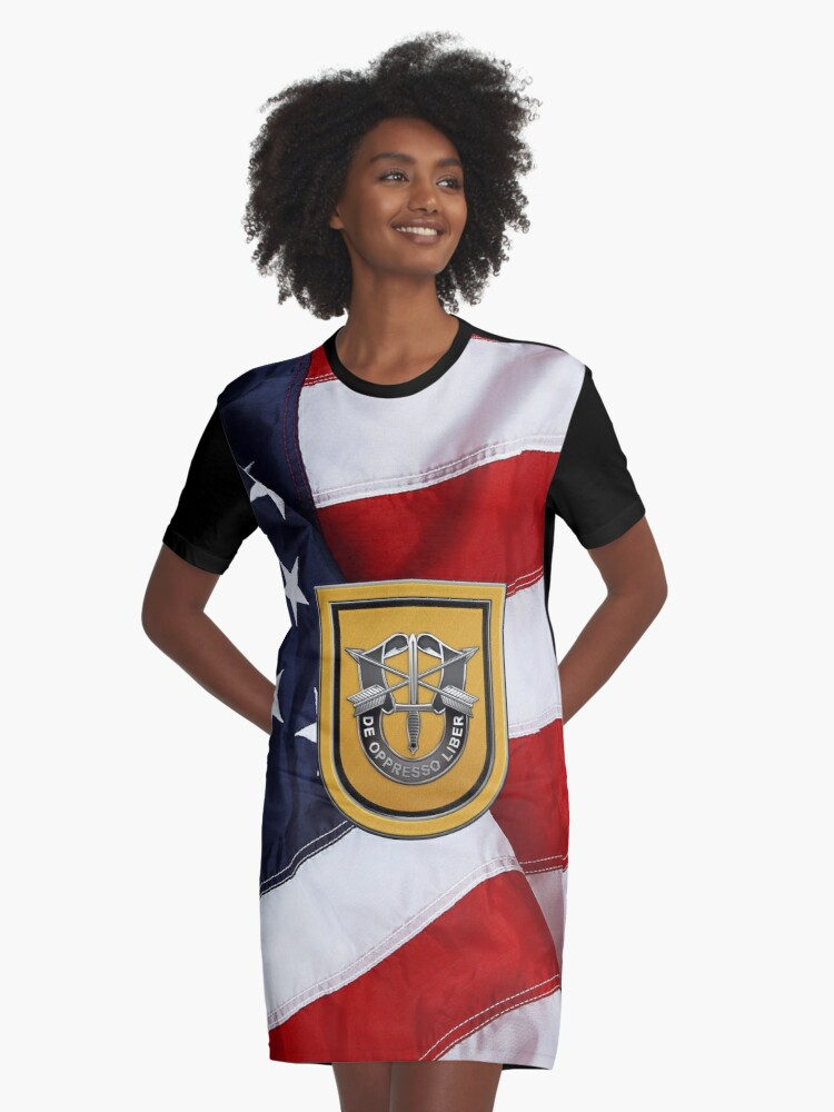 b46a9205a4929 U.S. Army 1st Special Forces Group - 1 SFG Beret Flash over American Flag  Graphic T-Shirt Dress. Designed by Serge Averbukh
