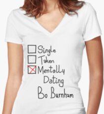 Mentally Dating Bo Burnham Women's Fitted V-Neck T-Shirt