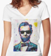Cool Lincoln Women's Fitted V-Neck T-Shirt