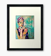Breakfast With Audrey: Audrey Hepburn Portrait Framed Print