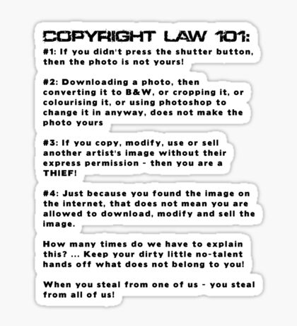COPYRIGHT LAW 101 Sticker