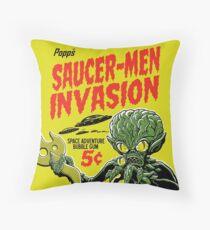 SAUCER-MEN INVASION Throw Pillow