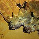"""Bush Baby"" Portrait of African Rhino by Susan  Bergstrom"