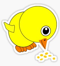 Funny Chick Eating Bird Seed Cartoon Sticker