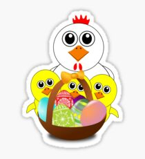 Funny Chicken and Chicks Cartoon Easter Sticker