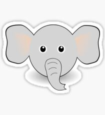 Funny Elephant Face Cartoon Sticker