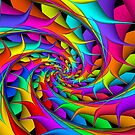 Psychedelic Rainbow 3D Spiral by Kitty Bitty