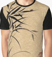 """Serene""  Sumi-e ladybug & bamboo ink brush painting Graphic T-Shirt"