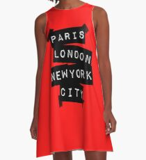 PARIS LONDON NEW YORK CITY A-Line Dress