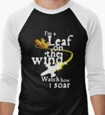 Leaf on the wind (white text) Men's Baseball ¾ T-Shirt