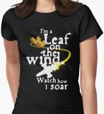 Leaf on the wind (white text) Women's Fitted T-Shirt