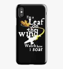 Leaf on the wind (white text) iPhone Case/Skin