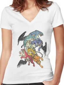 Seven Caged Tigers Women's Fitted V-Neck T-Shirt