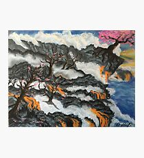 Cherry Blossom Trees in Lava Landscape Photographic Print