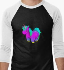 Neon Unicorn Stuffed Animal Men's Baseball ¾ T-Shirt