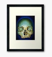 yellow blue realistic skull Framed Print