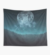 Moon over trees Wall Tapestry