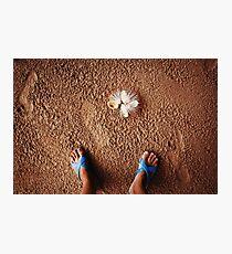 Tropical beach, legs in sand. Photographic Print