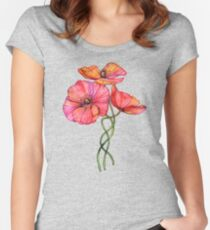 Peach & Pink Poppy Tangle Women's Fitted Scoop T-Shirt