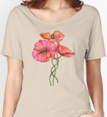 Peach & Pink Poppy Tangle Women's Relaxed Fit T-Shirt