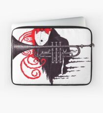 Passion of Trumpet surreal black and white and red pen ink drawing Laptop Sleeve