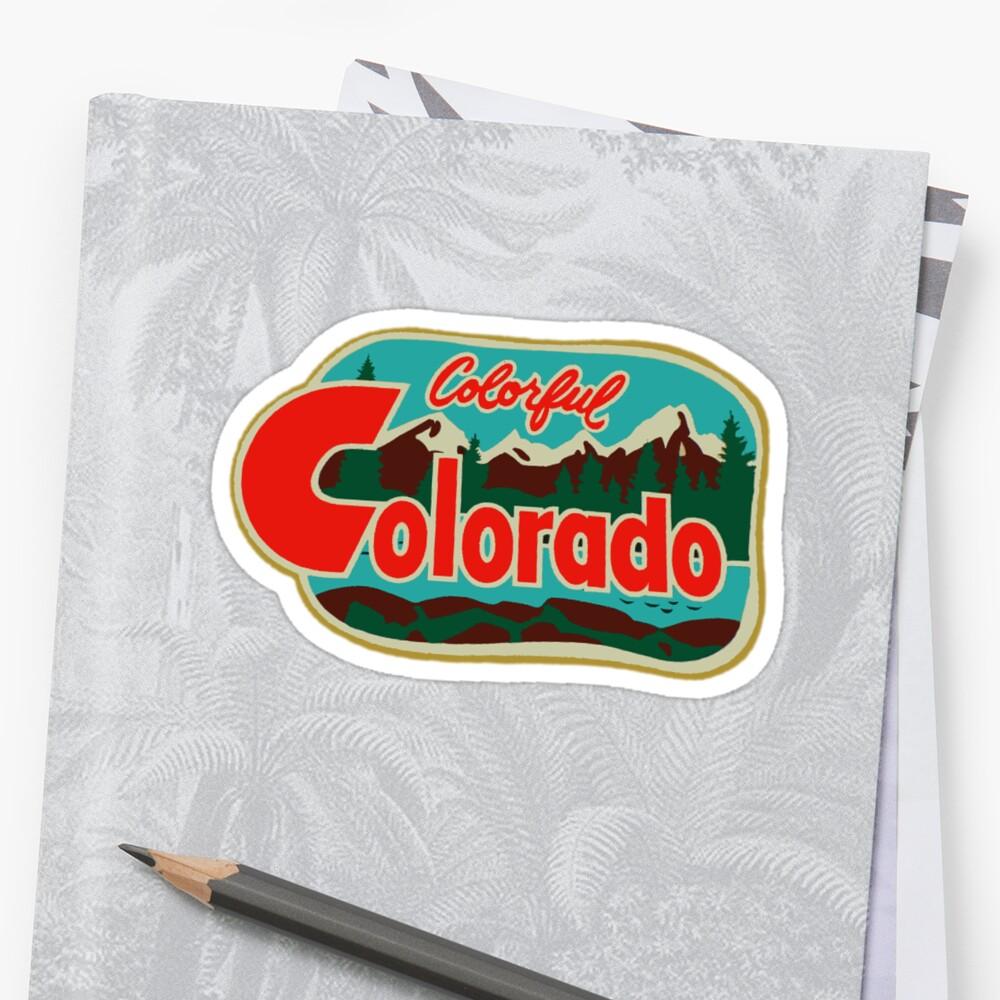 PegatinaCalcomanía de viaje colorida de Colorado Vintage Delante