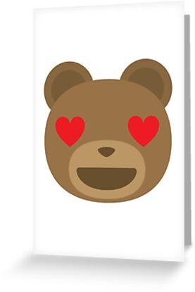 emoji teddy bear heart and love eyes greeting cards by teeandmee